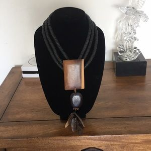 Exotic wooden necklace